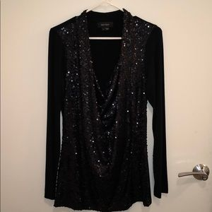 Karen Kane matte black sequin long sleeve top